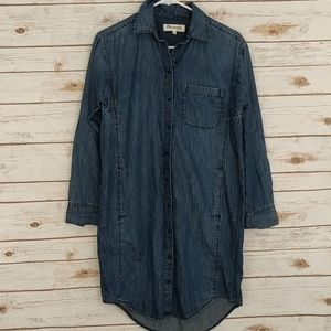 Madewell Denim Jean Tunic Dress Button Up XS